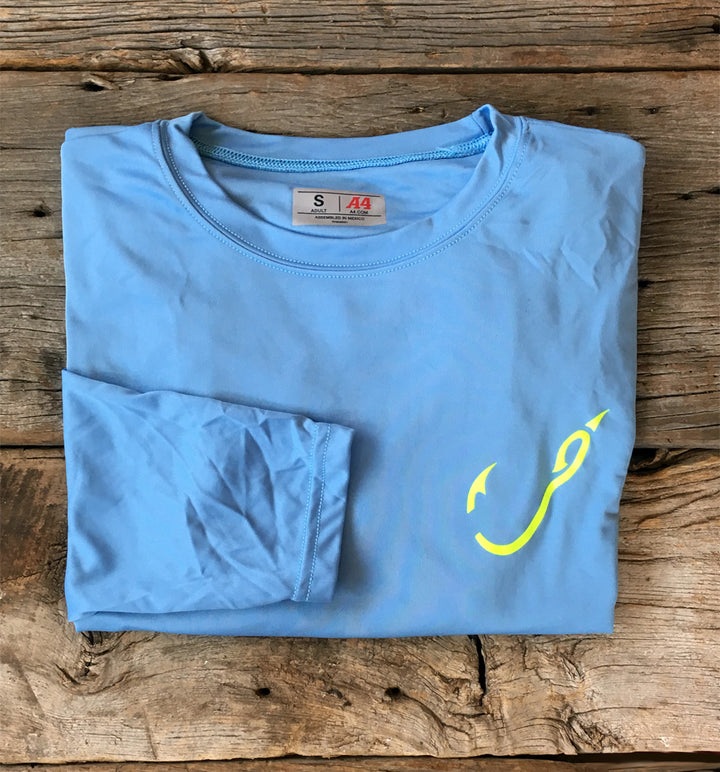 Bone Brand | Hk'd Fishing Gear | Hook Logo | Long Sleeve Performance Tee | Light Blue/Neon Yellow | Front
