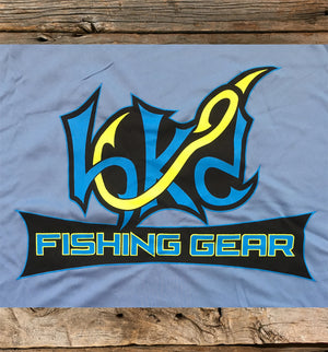 Bone Brand | Hk'd Fishing Gear | Hook Logo | Long Sleeve Performance Tee | Light Blue/Neon Yellow | Rear