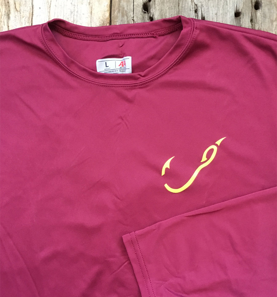 Bone Brand | Hk'd Fishing Gear | Hook Logo | Long Sleeve Performance Tee | Maroon/Gold | Front