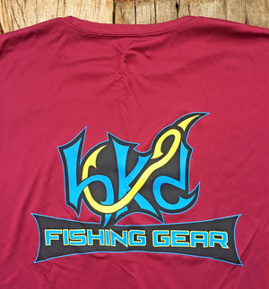 Bone Brand | Hk'd Fishing Gear | Hook Logo | Long Sleeve Performance Tee | Maroon/Gold | Rear