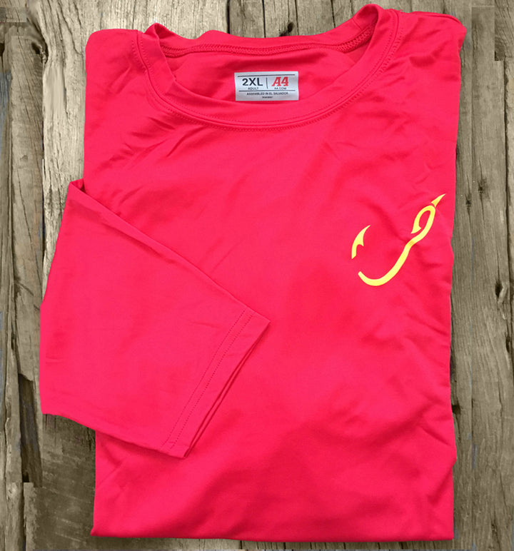 Bone Brand | Hk'd Fishing Gear | Hook Logo | Long Sleeve Performance Tee | Red/Gold | Front