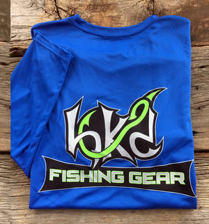 Bone Brand | Hk'd Fishing Gear | Hook Logo | Long Sleeve Performance Tee | Royal/Silver | Rear