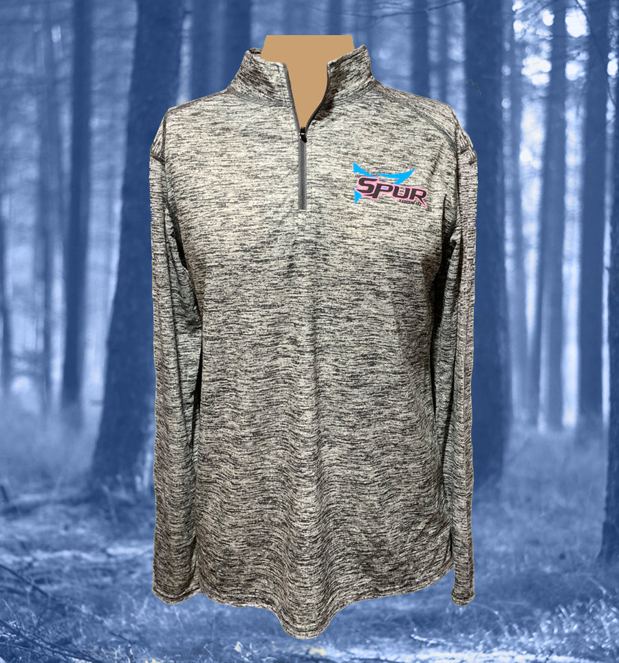 Spur Brand | Double Spur Logo | Ladies 1/4 Zip Pullover | Graphite Heather with Black/Pink/Blue | Front