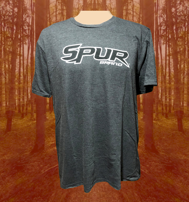 Spur Brand | Text Logo | Short Sleeve T-Shirt | Charcoal Heather with Black/White | Front