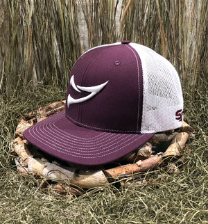 Bone Brand | Spur Brand | Double Spur | 112 Snap-Back Cap | Maroon/White with White Stitching