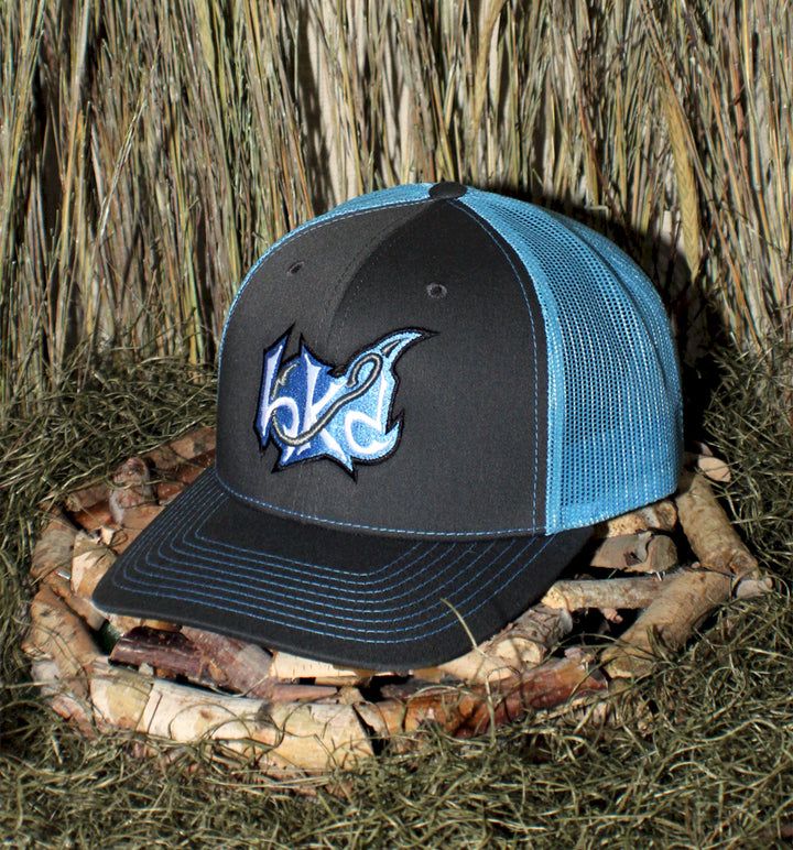 Hk'd Fishing - Badge Logo - Snap-Back Cap - Graphite/Light Blue with Light Blue/White/Silver Stitching