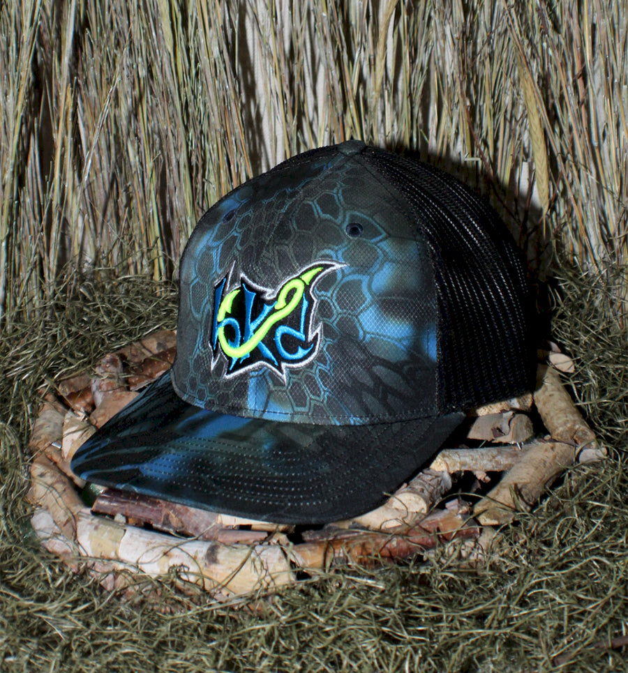 Bone Brand | Hk'd Fishing | Badge Logo | Snap-Back Cap | Kryptek Neptune/Black with Light Blue/Black/Neon Green Stitching