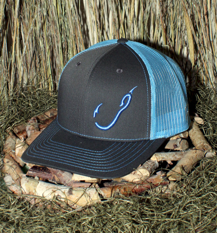 Bone Brand | Hk'd Fishing | Hook Logo |  Snap-Back Cap | Charcoal/Light Blue with Light Blue Stitching