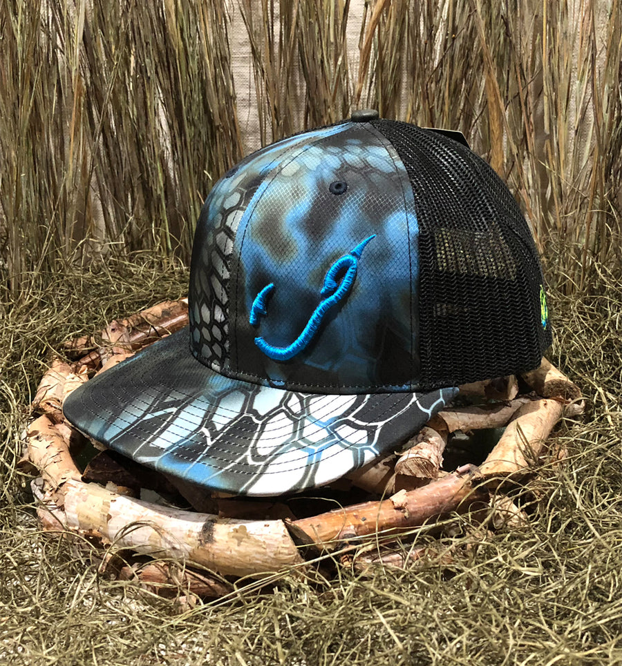 Bone Brand | Hk'd Fishing Gear | Hook Logo | Snap-Back Cap | Kryptek Neptune/Black with Light Blue Stitching