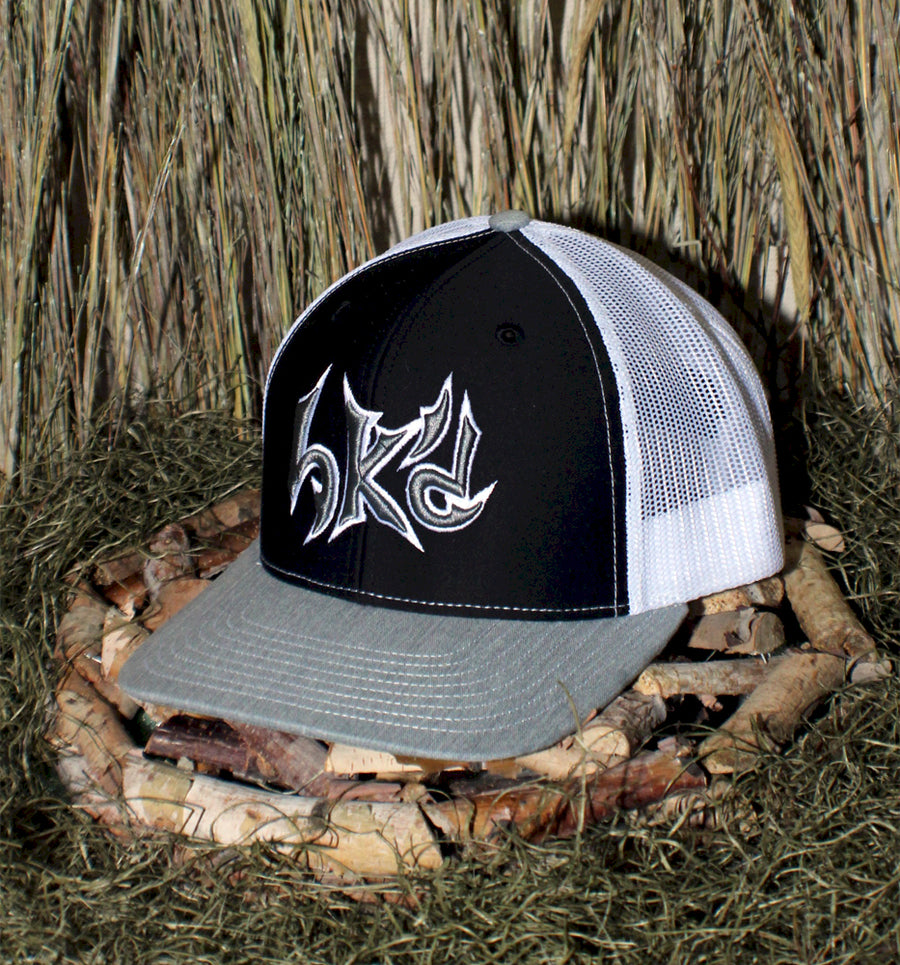 Bone Brand | Hk'd Fishing | Text Logo | Snap-Back Cap | Black/White/Heather Grey with Black/Silver Stitching