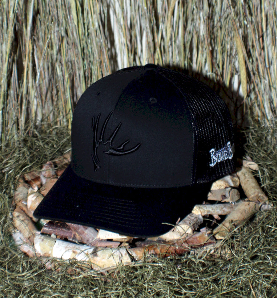 Bone Brand | The Shed | 112 Snap-Back Cap | Black/Black with Black Stitching
