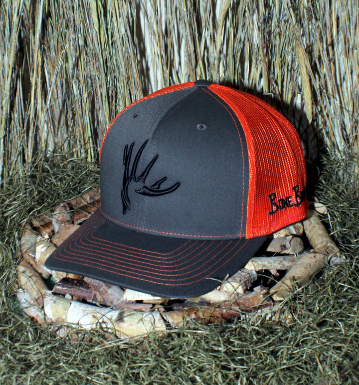 Bone Brand | The Shed | Snap-Back Cap | Graphite/Neon Orange with Black Stitching