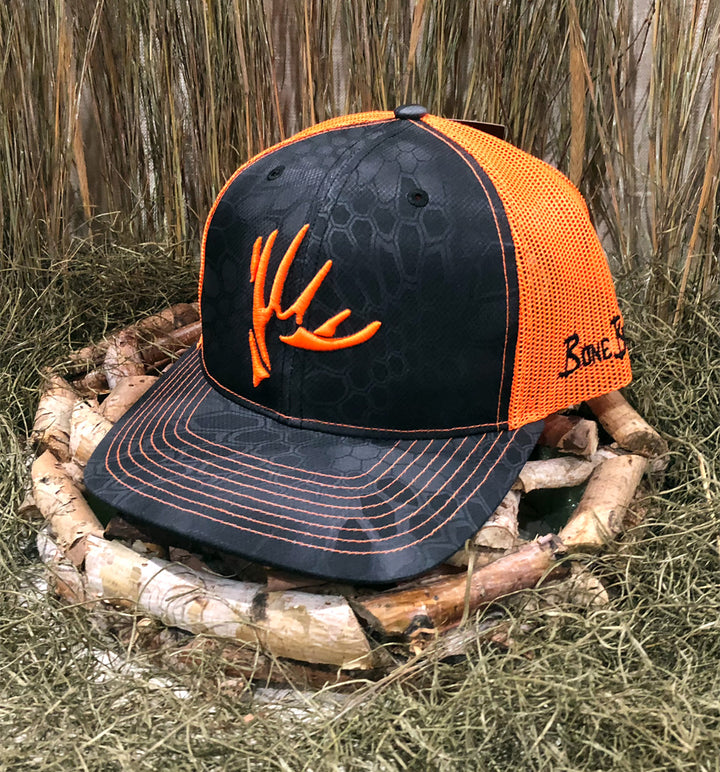 Bone Brand | The Shed | 112 Snap-Back Cap | Kryptek Typhon/Neon Orange with Neon Orange Stitching