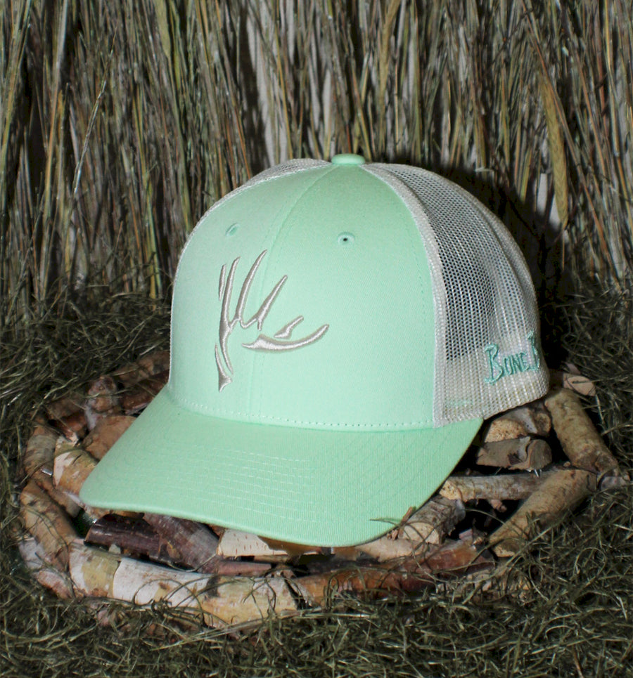 Bone Brand | The Shed | 112 Snap-Back Cap | Patina Green/Birch with Silver Stitching
