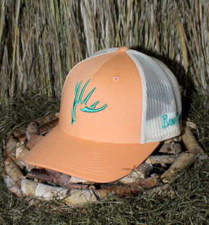 Bone Brand | The Shed | 112 Snap-Back Cap | Peach/Birch with Green Stitching