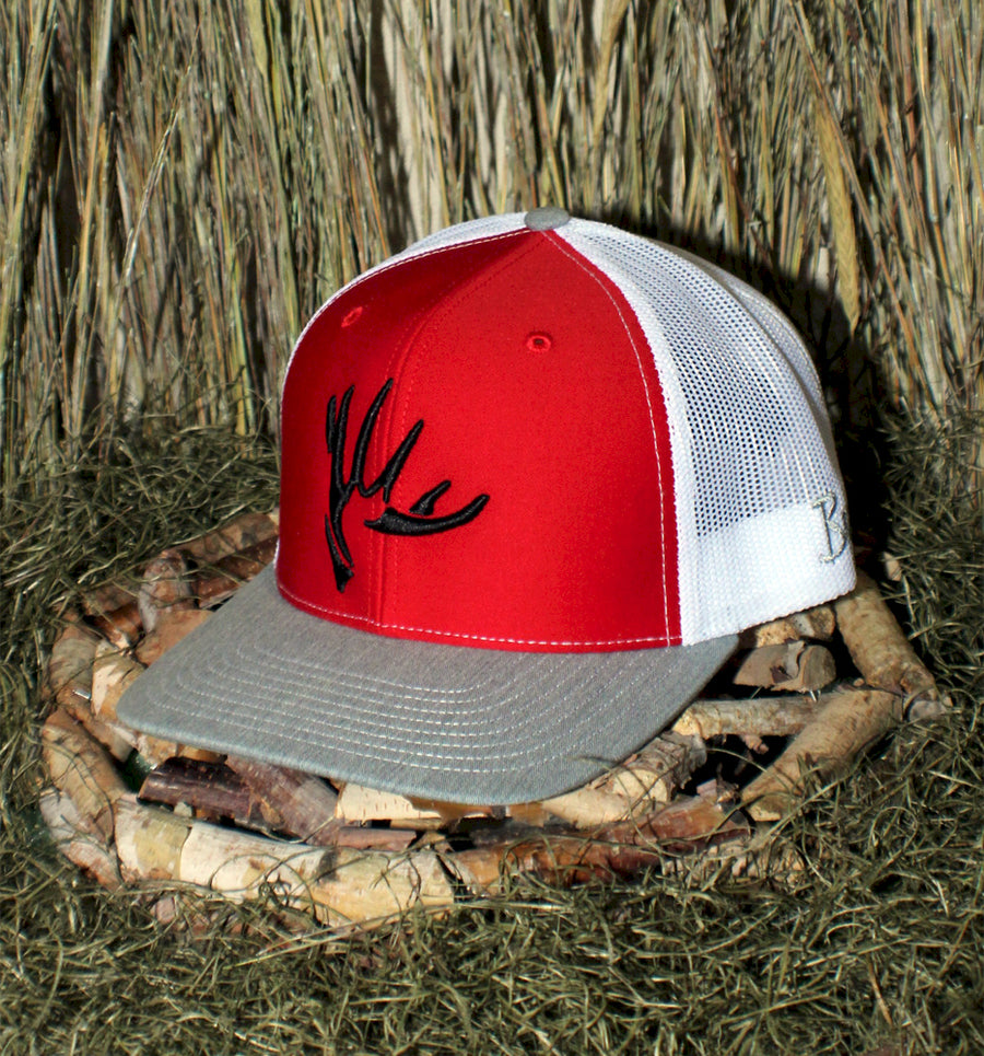 Bone Brand | The Shed | 112 Snap-Back Cap | Red/White/Heather Grey with Black Stitching