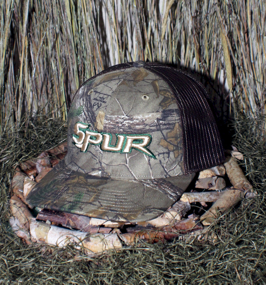 Bone Brand | Spur Brand | Text Logo | 112P Snap-Back Cap | Realtree Xtra/Brown with Tan/Dark Green Stitching