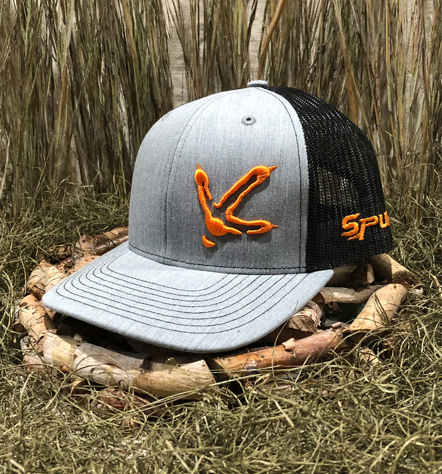 Bone Brand | Spur Brand | Turkey Track | Snap-Back Cap | Grey Denim/Black with Orange Stitching