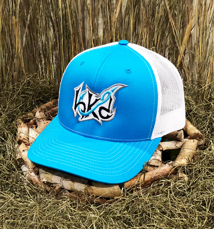 Spur Brand | Hk'd Fishing | Badge Logo | Snap-Back Cap | Light Blue/White with Light Blue Stitching