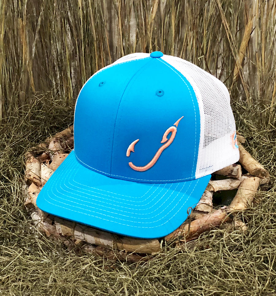Spur Brand | Hk'd Fishing Gear | Hook Logo | Snap-Back Cap | Light Blue/White with Salmon Stitching