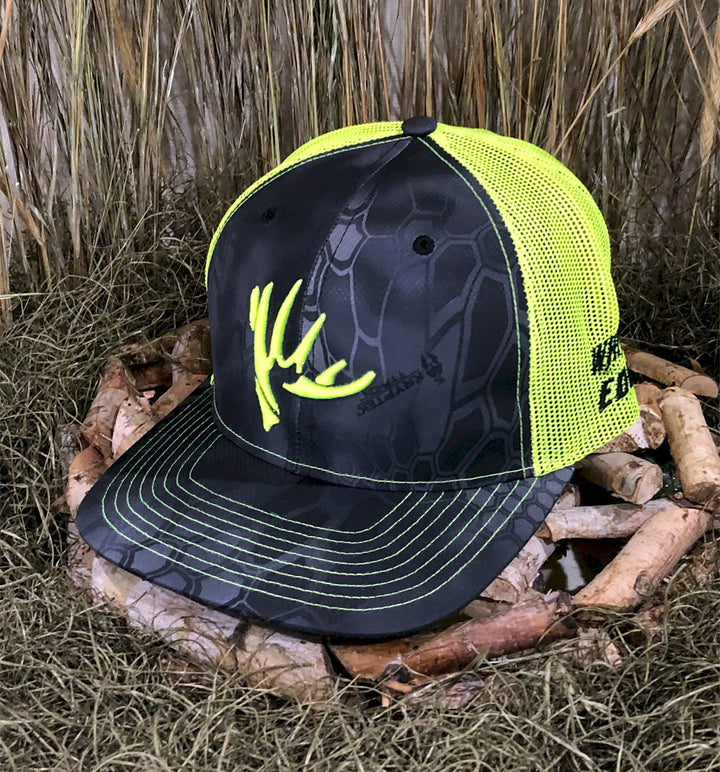 Spur Brand | Whitetail Edge | The Shed | 112 Snap-Back Cap | Kryptek Typhon/Neon Green with Neon Green Stitching