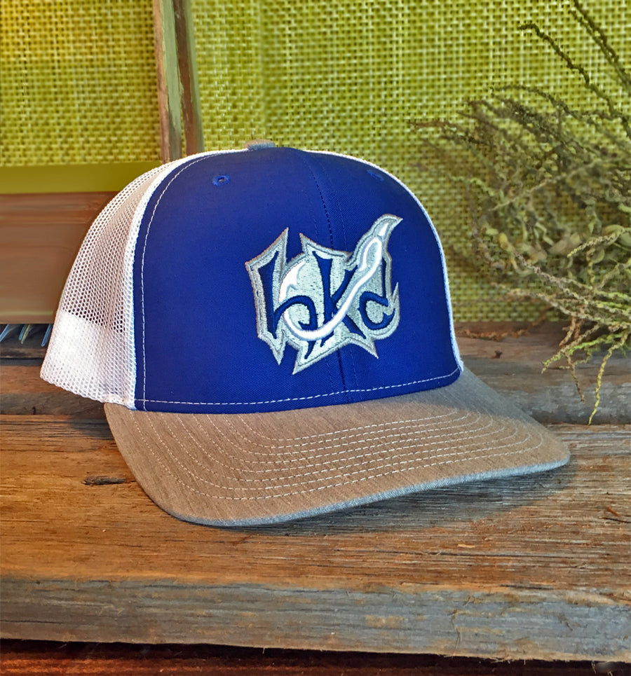 Bone Brand | Hk'd Fishing 112 Snap-Back Cap | Royal/White/Heather Grey with Royal/White/Silver Stitching