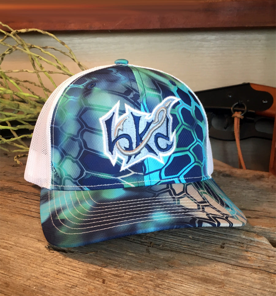 Bone Brand | Hk'd Fishing 112P Snap-Back Cap | Kryptek Pontus/White with Light Blue/Royal/Silver Stitching