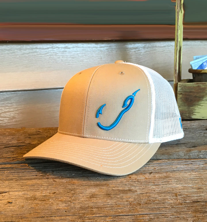 Bone Brand | Hk'd Fishing 112 Snap-Back Cap | Tan/White with Electric Blue Stitching