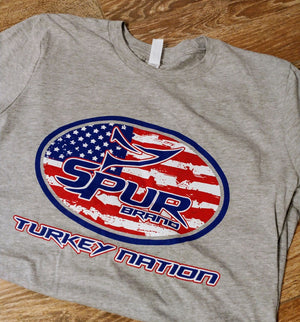 Spur Brand | Turkey Nation | SS Men's Tee | Heather Grey with Red, White, and Blue ink