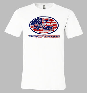 Spur Brand | Turkey Nation | SS Men's Tee | Bright White with Red, White, and Blue ink