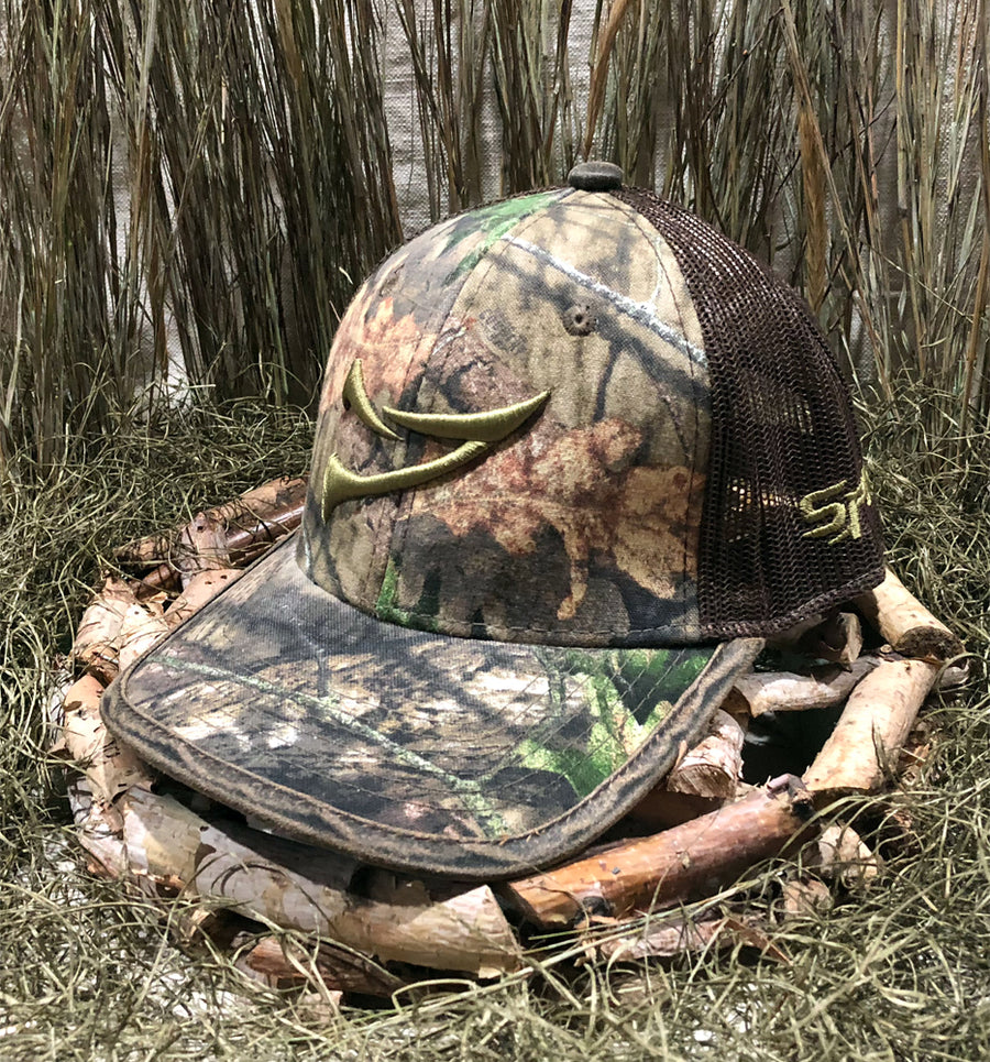 Bone Brand | Spur Brand | Double Spur | Velcro-Back Cap | Mossy Oak Break Up Camo/Brown with Green Stitching