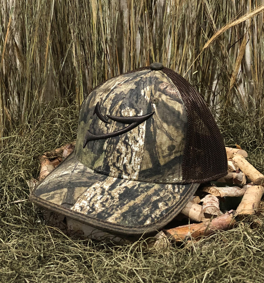 Spur Brand | Double Spur | Outdoor Cap Inc | Velcro-Back Cap | MOssy Oak Country Camo/Brown with Brown Stitching