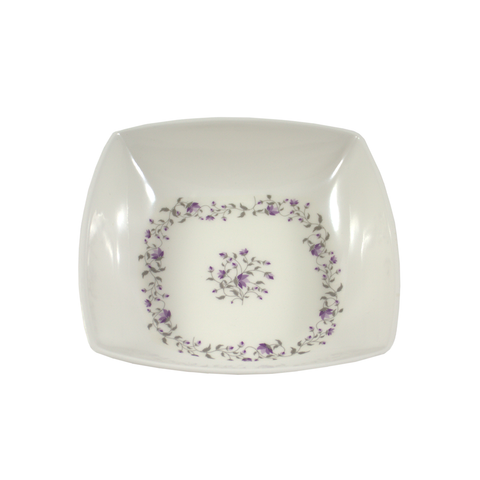 Purple Floral Design Melamine Square Curry Bowl (8in) - 1pc
