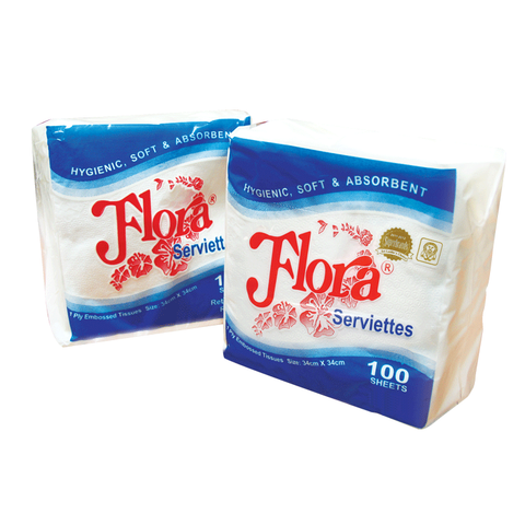 Flora Paper Serviettes - 1Ply - (5 x 100 Sheet Packs)