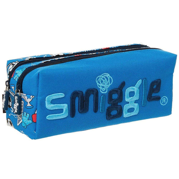 Smiggle Kicks Twin Zip Pencil Case - Blue