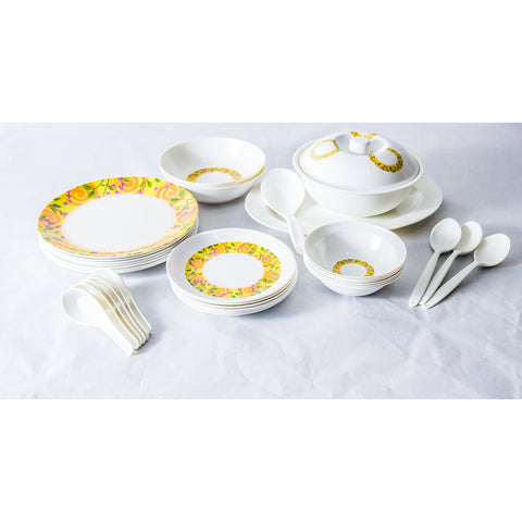 Yellow Floral 32 Piece Melamine Dinner Set