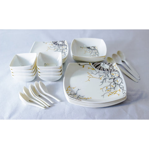 Black/Grey/Gold Design 30 Piece Melamine Dinner Set