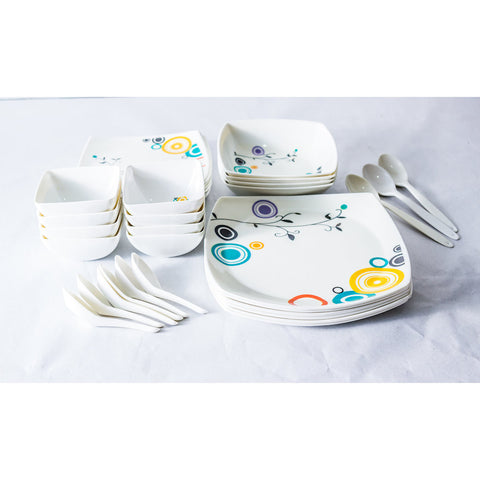 Colorful Design 30 Piece Melamine Dinner Set