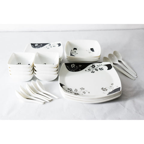 Black/White Design 30 Piece Melamine Dinner Set