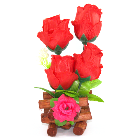 Wooden Log and Rose Table Ornament