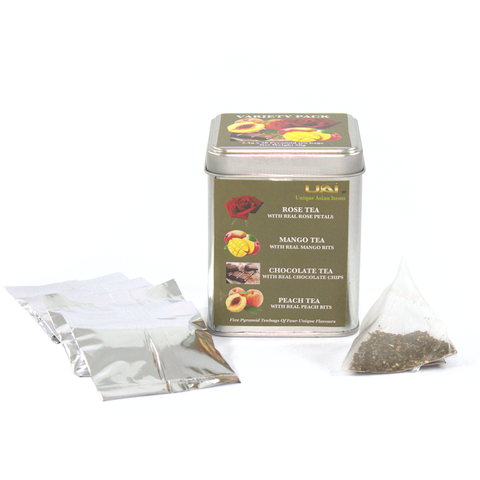 Variety Pack - Rose/Mango/Chocolate/Peach Flavored Black Tea Bags