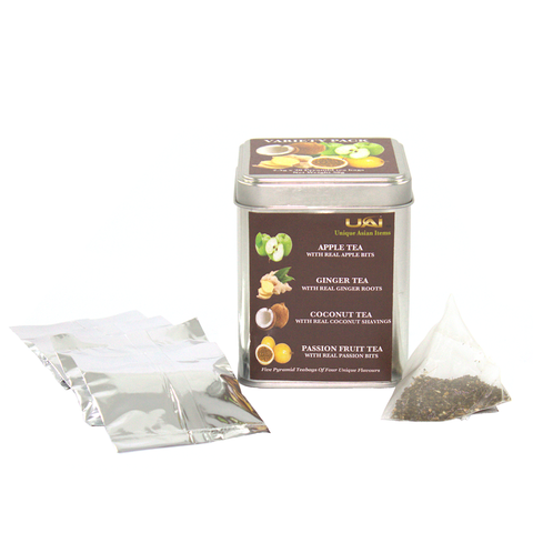 Variety Pack - Apple/Ginger/Coconut/Passion Fruit Flavored Black Tea Bags
