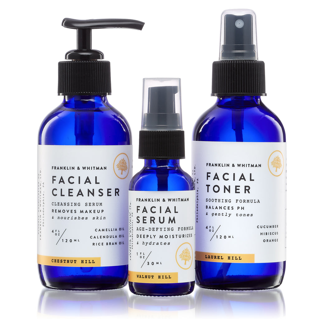Vegan, plant based, cruelty free Daily Face Care Kit bottles for skin care