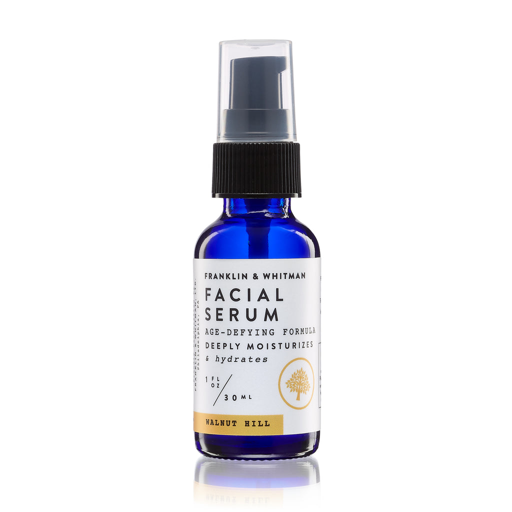 Vegan, plant based, cruelty free Walnut Hill Facial Serum bottle for skin care