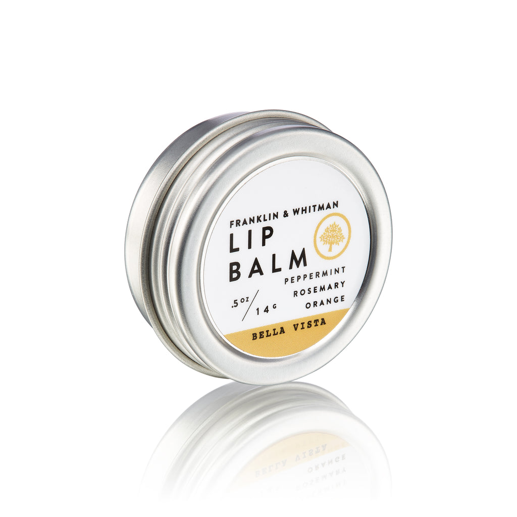 Vegan, plant based, cruelty free Bella Vista Lip Balm tin for lip care