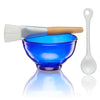 Recycled blue glass Mask Bowl Kit featuring application brush and spoon for mask mixing