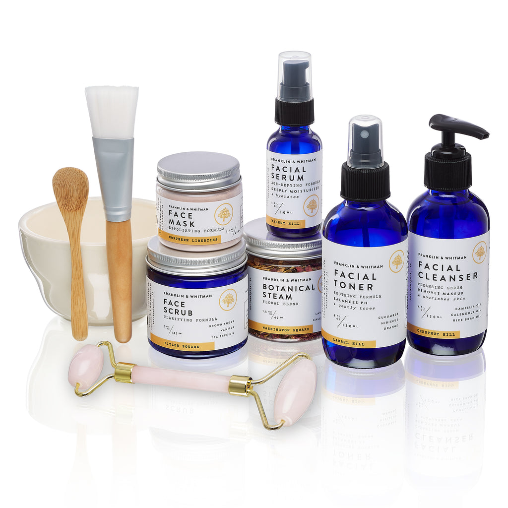 Vegan, plant based, cruelty free Spa Face Care kit bottles and jars for skin care