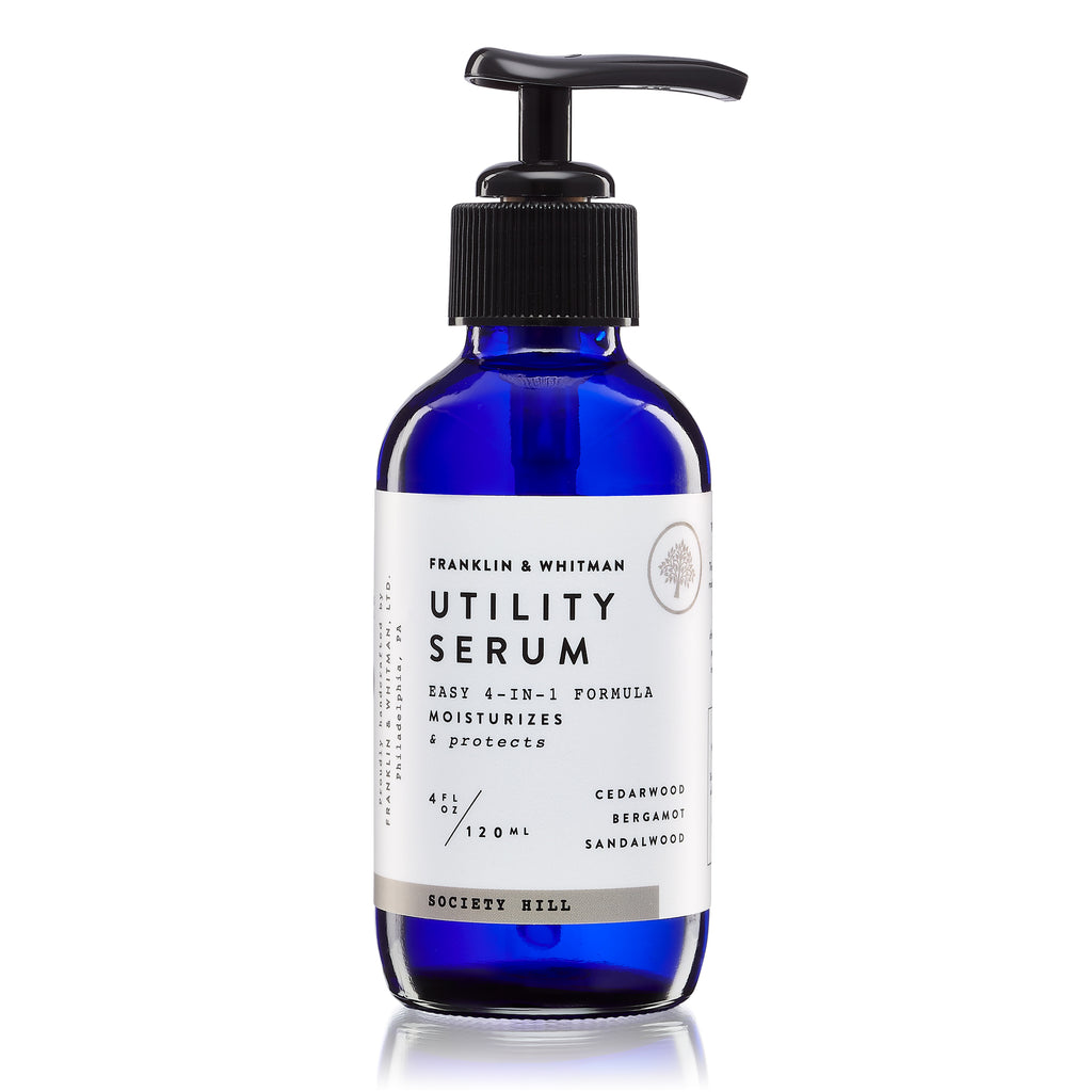 Vegan, plant based, cruelty free Society Hill Utility Serum bottle for mens grooming
