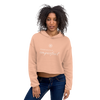 Woman wearing Franklin & Whitman cropped hoodie in Peach