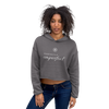 Woman wearing Franklin & Whitman cropped hoodie in Gray
